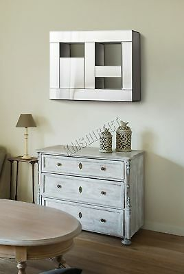 FoxHunter Bevelled Mirrored Furniture Glass Floating Wall Mirror Shelves Display