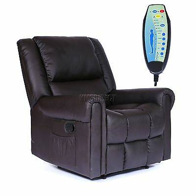 FoxHunter Leather Massage Cinema Recliner Sofa Chair Armchair Heat MLS-08 Brown