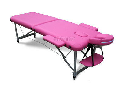 Pink Portable Massage Table Bed Beauty Therapy Couch 2 Section ALU + Cover Bag