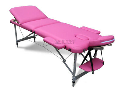 Pink Portable Massage Table Bed Beauty Therapy Couch 3 Section ALU + Cover Bag