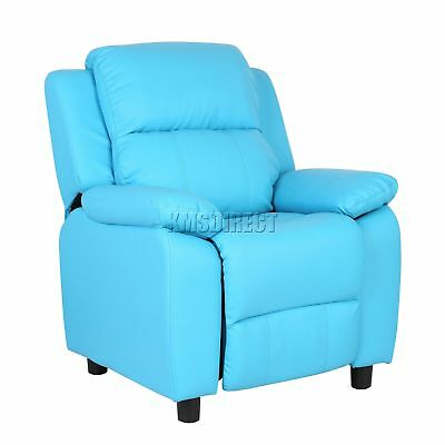 FoxHunter Kids Recliner Armchair Games Chair Sofa Seat PU Leather KSP03 Blue New