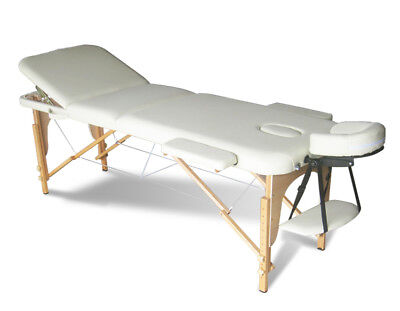 Beige Portable Massage Table Bed Beauty Therapy Couch 3 Section Wood + Cover Bag