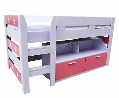 FoxHunter MDF Kids 3FT Mid Sleeper Cabin Bunk Bed Wooden With Book Shelf Pink