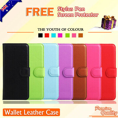 Premium Leather Wallet Case TPU Cover For OPPO R9 + Screen Protector