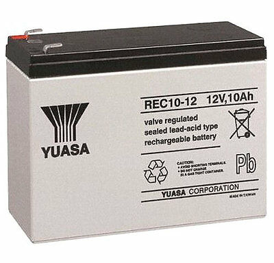 Yuasa REC10-12 12V 10Ah Sealed Lead Acid Rechargeable SLA Industrial Battery