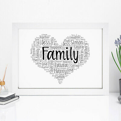 Personalised Word Art Heart Print Birthday Family Friendship Frame Picture Gift