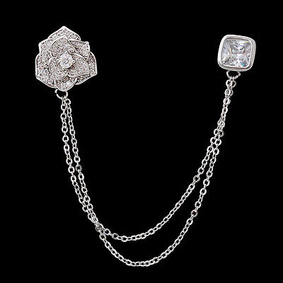 Silver Pave CZ Rose Flower Sweater Clip Guard Safety Pin Brooch Jewelry Gift