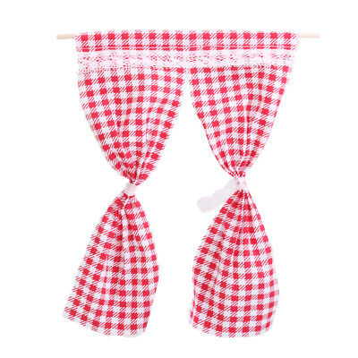 Miniature Doll House Furniture Accessory Curtains Drapes Red Checked Gingham