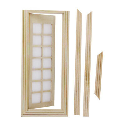 1:12 Doll House Miniature Wooden Single French Door with Trim Natural Finish