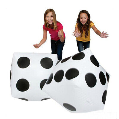 2 Large Inflatable Blow Up Dot Dice Kids Party Favours Outdoor Pool Toy 32cm