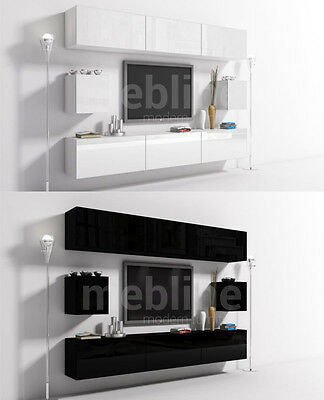 Wall Unit 11 Mounted Furniture   Set   Living room   TV stand   Cupboard   Shelf