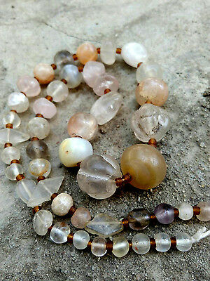 Ancient Bactrian Rock crystal, Amethyst Bead Mixed Melon Round Diamond Necklace