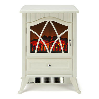 Electric Stove Fire Heater with Log Flame Effect Freestanding - Cream - New 2016