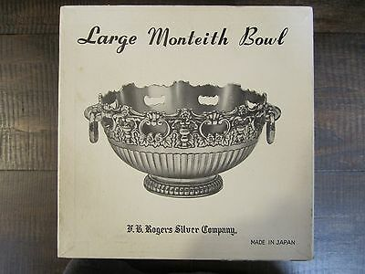 Monteith FB Rogers Silver Plate Ornate Pedestal Ringed Handle Bowl in org. box