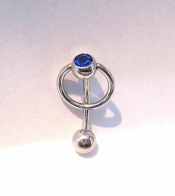Surgical Steel Dangle Curved Blue CZ Barbell Bar VCH Clit Clitoral Hood Ring 14g