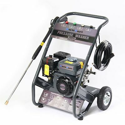 Petrol Power Pressure Jet Washer 2200PSI 6.5HP Engine With Gun Hose Wheel New