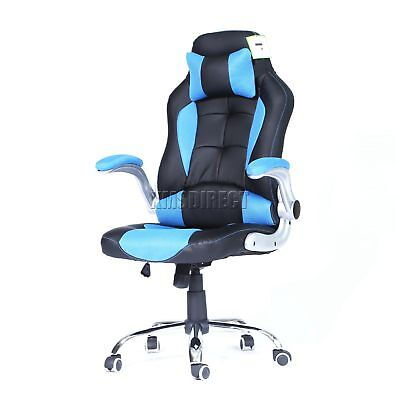 FoxHunter Computer Executive Office Chair PU Leather Swivel High Back OC09 Blue