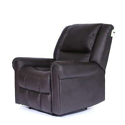 FoxHunter Luxury 1 Seater Leather Cinema Recliner Sofa Chair Armchair RS03 Brown