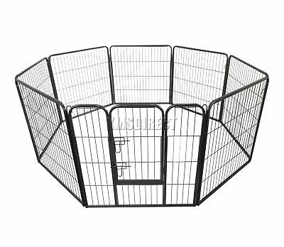 FoxHunter Heavy Duty 8 sided Pet Play Pen Dog Puppy Cage Crate Run Metal MPP-01L