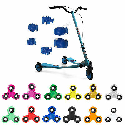 Blue 3 Wheel Swing Tri Motion Slider Winged Push Scooter For Kids Drifter New
