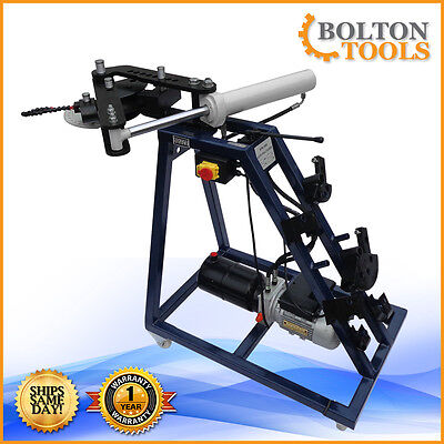 Electric Powered 10 Ton Hydraulic Pipe Tube Bender Bending 110 Volt - 3 Dies