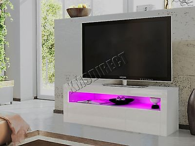 FoxHunter Modern High Gloss Matt TV Cabinet Unit Stand White RGB LED Light TVC08