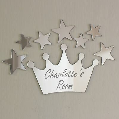 Princess Crown Mirror Set Personalised Door Name Plaque Boy Girls Bed Room Sign