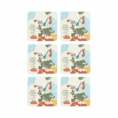 Ben De Lisi Home Pack Of 6 Multi-Coloured Map Print Coasters From Debenhams