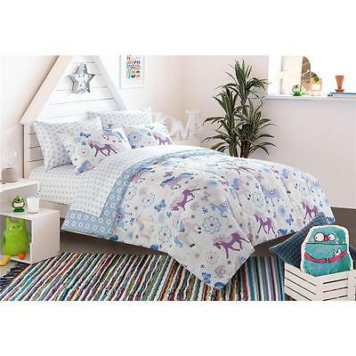 Girls Blue Purple White Horses Ponies Flowers Butterflies Comforter Sheets Set