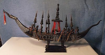 Dragon Boat Made of Carved Buffalo Horn Ship / Galley, Made in Thailand