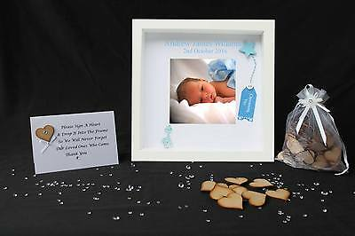 Personalised Christening Baby Boy Drop Box Guest Book Photo Guestbook Frame