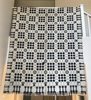 "Antique Double Weave Geometric Reversible Jacquard Coverlet Blanket 87""x72"" Rare"