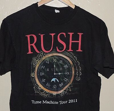 Rush Time Machine Tour 2011 Concert Shirt Cities On Back Black Size Medium