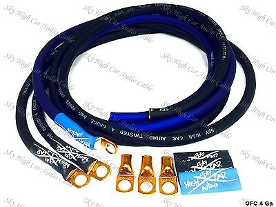 Sky High Oversized 4 Gauge OFC AWG Big 3 Upgrade BLUE/BLACK Electrical Wiring