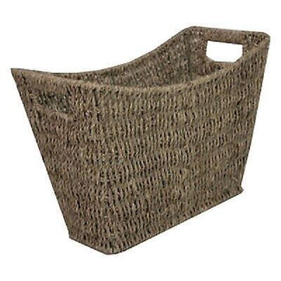 Seagrass Magazine Rack Stylish Curved Newspaper Storage Basket with Handles