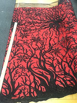 """56""""w Hand beaded French lace w 1 border BLACK Fabric by the yard"""