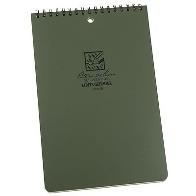 "Rite in the Rain 969 All-Weather Top Spiral Universal Notebook, Green, 6"" x 9"""