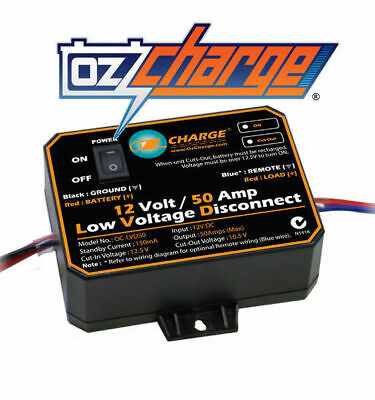 Oz Charge 50A Low Voltage Disconnect Cut Out Deep Cycle Agm Dual Battery Lvd50