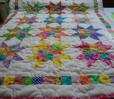 Handcrafted Handmade Girl  9 Patch Star Multi Color Baby Crib Lap Throw Quilt