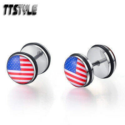 TTstyle 10mm Clear Epoxy America Flag Stainless Steel Ear Plug Earrings A Pair