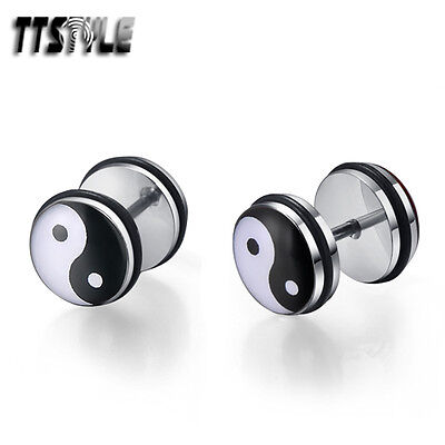 TTstyle 10mm Clear Epoxy Ying&Yang Stainless Steel Ear Plug Earrings A Pair