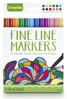 Crayola Adult 12 Fine Line Contemporary Colored Markers Fine Tips 58-7714