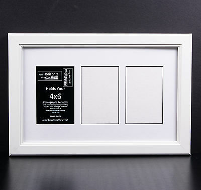 3 OPENING GLASS Face 10x16 Black Picture Frame Holds 4x6 Media White ...
