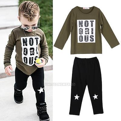 2PCS Toddler Kids Baby Boys Outfits Long Sleeve T-shirt Tops + Pants Clothes Set
