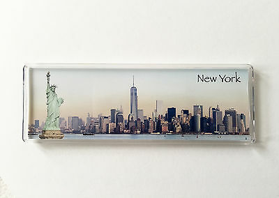 Panoramic Fridge Magnet with stand, New York statue of liberty, freedom tower