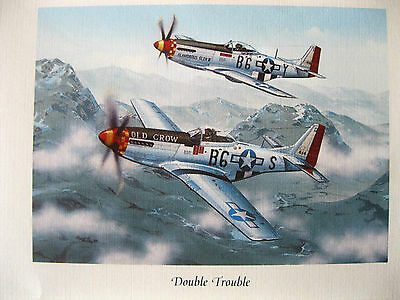 Chuck Yeager, Bud Anderson,Framed Signed byTwo Aces, 'Double Trouble' Lithograph