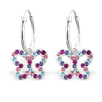 925 Sterling Silver Kids Girls Crystal Stones Butterfly Sleeper Hoop Earrings