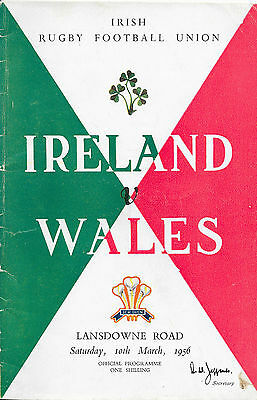 1956 - Ireland v Wales, Five Nations Match Programme.