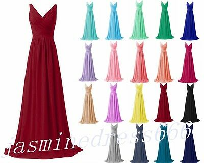 Stock Long Chiffon Bridesmaid Prom Dresses Party Evening Formal Gown Size 6-18