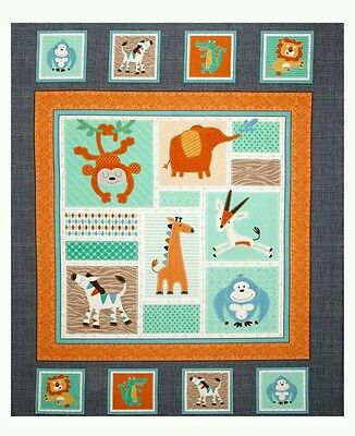 Swinging Safari Quilt Panel * New * In Stock * Free Post *